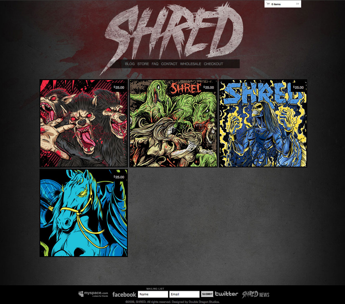 SHRED bigcartel e-commerce design